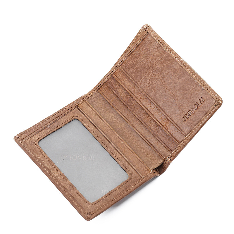 New Arrived Genuine leather man short Wallets Retro cowhide Brown Mens Wallets Credit Card Holder bag small purse for men