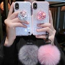 Роскошные милый пушистый мех алмаз Мягкий чехол для iphone XS MAX XR X 6 7 8 plus для samsung s8 s9 s10 lite плюс