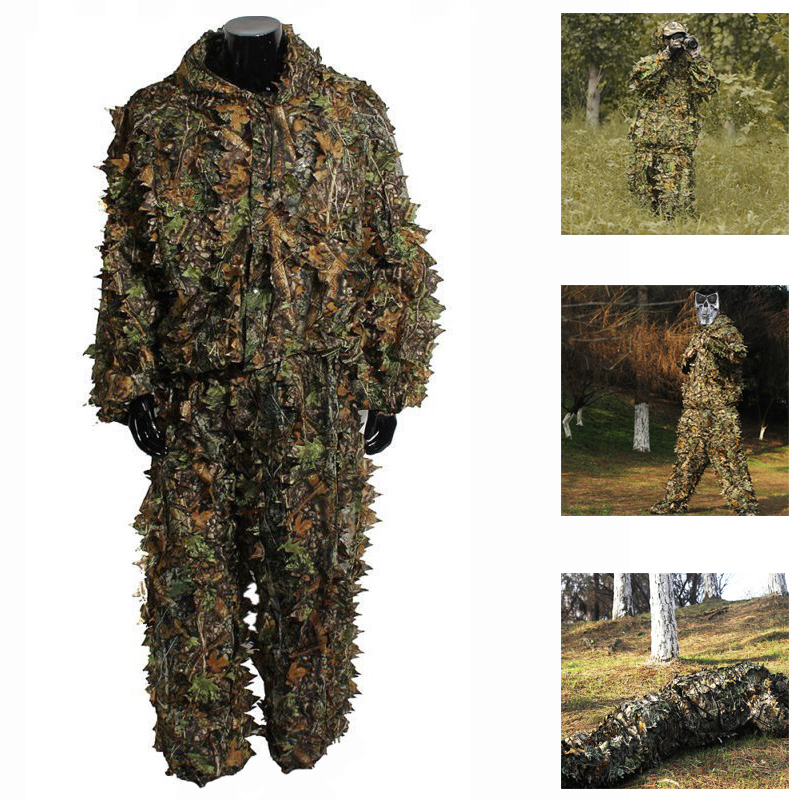 Tactical Hunting Clothes 3D Camo Leaf Ghillie Suits Sniper Airsoft Camouflage Clothing <font><b>Jungle</b></font> Woodland Birdwatch Shirt + Pants image
