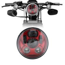 """Red Cor 5.75 """"5-3/4"""" Projetor motocicleta 45 W O-Sram LEVOU Lâmpada Do Farol Para Harley Sportster Ferro 883 Dyna Rua Bob FXDB"""
