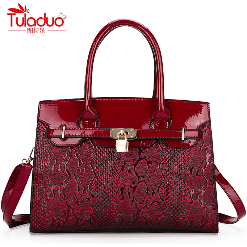 High Quality Patent Leather Women's Handbags Fashion Embossed Women Shoulder Crossbody Bags Large Capacity Black Top Handle Bags high quality pu leather women crossbody bags fashion piaid women shoulder bag black large capacity women s handbags bolsa mujer