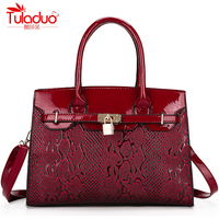 High Quality Patent Leather Women S Handbags Fashion Embossed Women Shoulder Crossbody Bags Large Capacity Black
