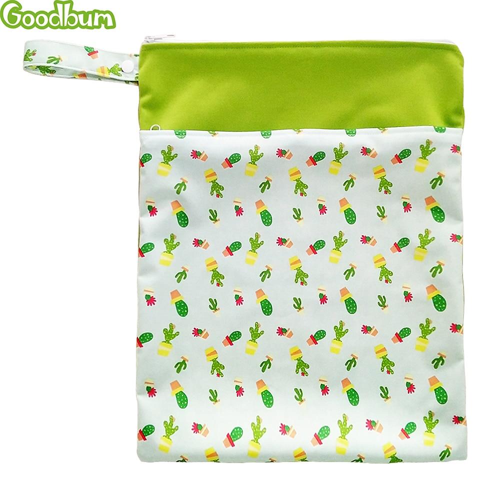 Goodbum Waterproof Baby Diaper Bags Wet Dry Bag Reusable Washable Double Zipper Baby Cloth Diaper Storage Bag Tote Printing