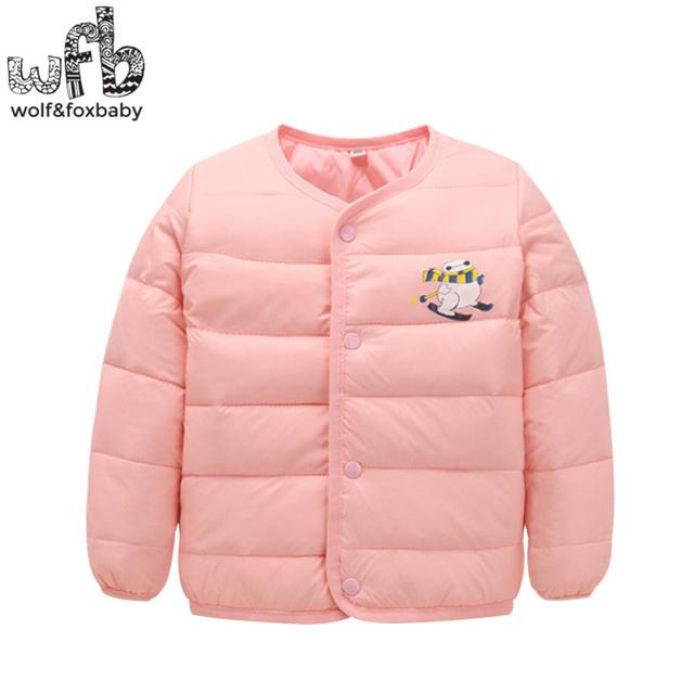 Varejo 2-6 anos as crianças Para Baixo casaco cor sólida full-luvas Manter quente casaco crianças primavera da queda do outono inverno