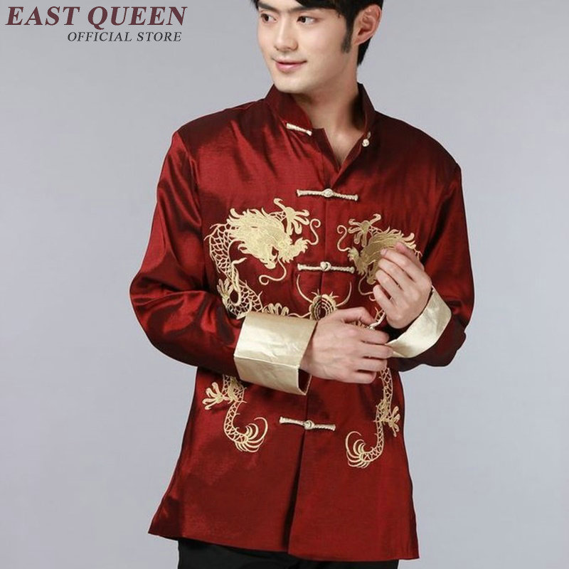Dragon bomber jacket male Traditional chinese coat jacket clothing for men mandarin collar tang suit cheongsam