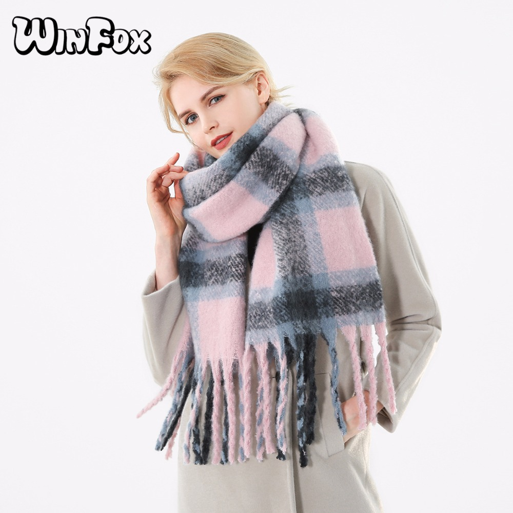 Winfox 2018 New Brand Winter Pink Grey Warm Tartan Plaid Cashmere Blanket Scarves Shawl Foulard Scarf For Womens Ladies-in Women's Scarves from Apparel Accessories