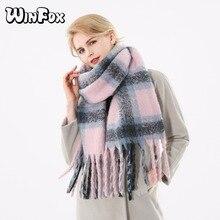 Winfox 2018 nouvelle marque hiver rose gris chaud Tartan Plaid cachemire couverture foulards châle Foulard écharpe pour femmes dames