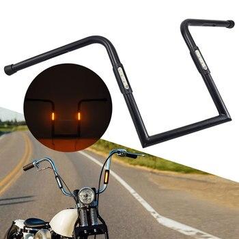 """1"""" Handlebar w/ LED Turn Signal Lights 14"""" 16"""" Rises Ape Hanger Bar For Harley Yamaha Honda Suzuki Chopper Bobber Pit Dirt Bike"""