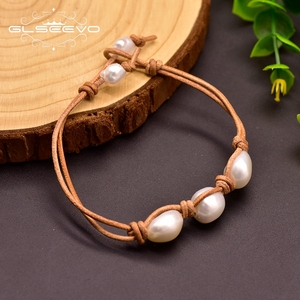 GLSEEVO Natural Baroque White Pearl Cowhide Rope Leather Bracelet For Women 8-9mm Wedding Engagement Gift Fine Jewelry GB0160