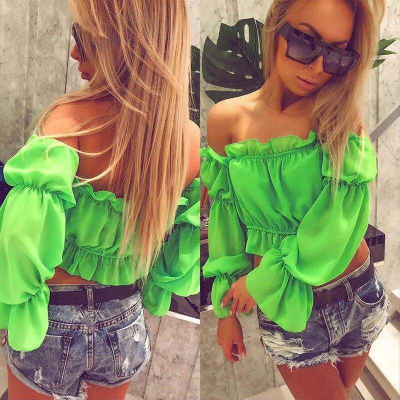 2019 Summer Women Lantern Sleeve Ruffles Blouses Neon Fashion Club Sexy Shirts Strapless Slash Neck Chiffon Tops in Blouses amp Shirts from Women 39 s Clothing