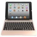 Teclado de aluminio case con 7 colores de retroiluminación retroiluminada inalámbrica bluetooth teclado y banco de la energía para ipad air2 para ipad air 2