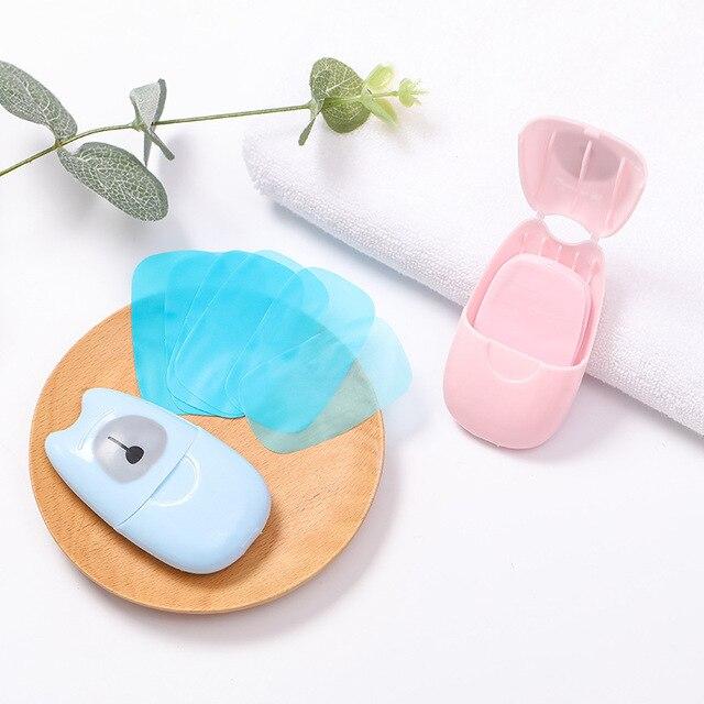 50PCS Soap Paper Convenient Cute Washing Hand Bath Soap Flakes Mini Cleaning Soap Sheet Travel Convenient Disposable Box TSLM1 4