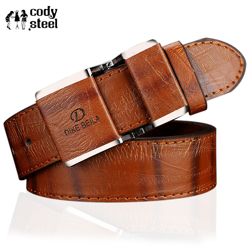 Cody Steel Male Fashion   Belt   Antique Men Metal   Belt   High Quality Smooth Buckle Jeans   Belt   Faux Leather Man