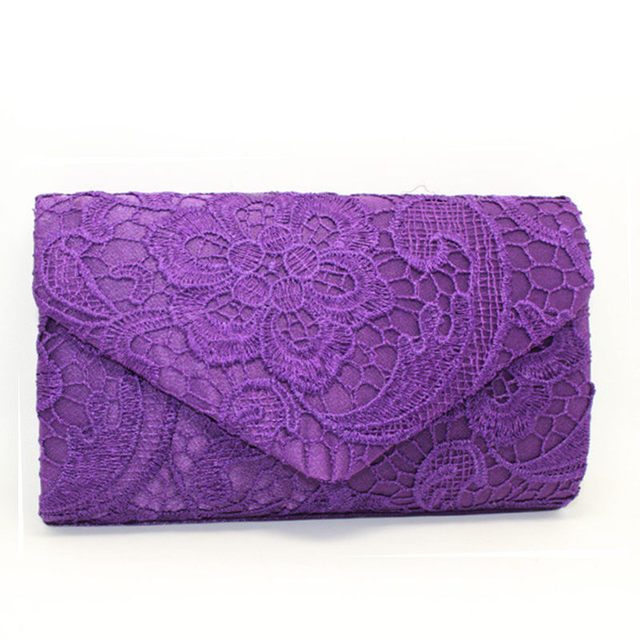2016 Vintage Satin Lace Envelope Clutch Evening Bag Bridal Dress Clutch Purse Wedding Banquet Chain Shoulder Bag Handbags XA236C