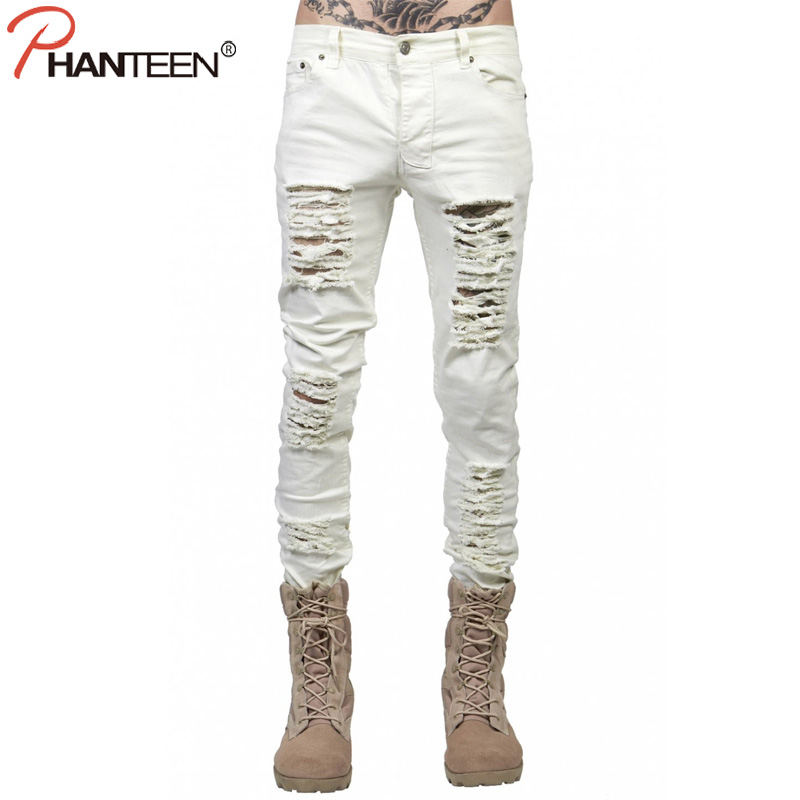 Spring Autumn Ripped Men Jeans Rock And Roll Hiphop Street Style Pencil Jeans Casual Slim Distressed Pants Fashion Man Trousers