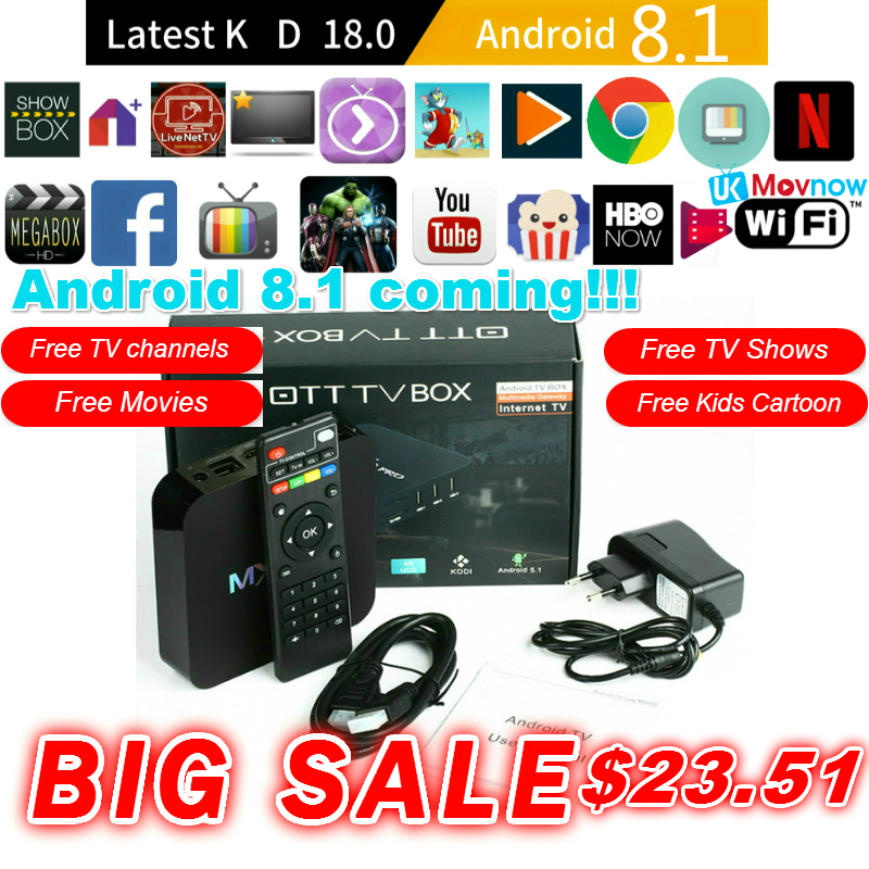 TTVBOX MX Pro 4 K Android TV Box último KD 18,0 Android 8,1 OS 1 GB 8 GB RK3229 4 K 2,4 GHz WIFI Quad Core Smart TV Box reproductor de medios
