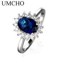 UMCHO Luxus Blue Sapphire 6*8mm Prinzessin Diana Ringe Echte 925 Sterling Silber Verlobungsringe Für Frauen Hochzeit schmuck