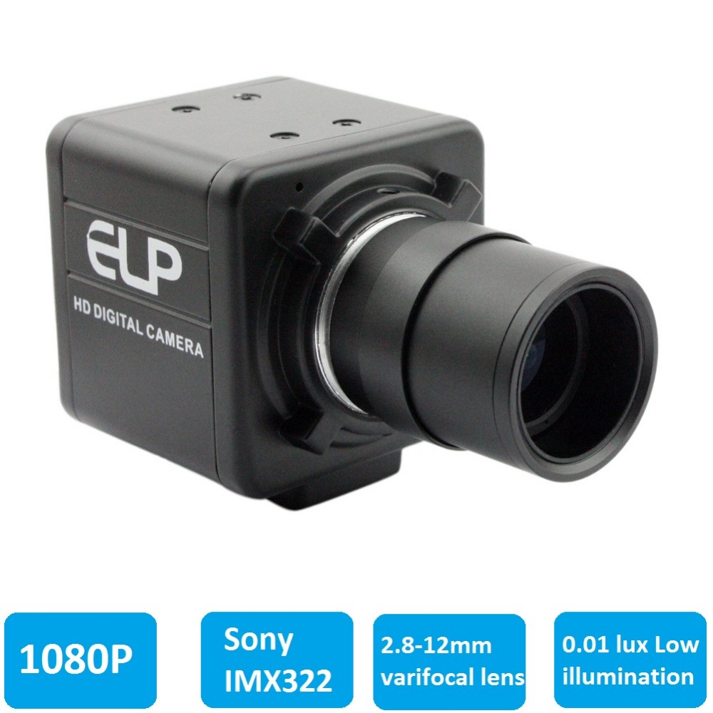H.264 1080 p Faible Éclairage 0.01Lux Sony IMX322 Industriel Webcam USB Caméra HD Avec CCTV Varifocale 2.8-12mm lentille pour Win7 Win8