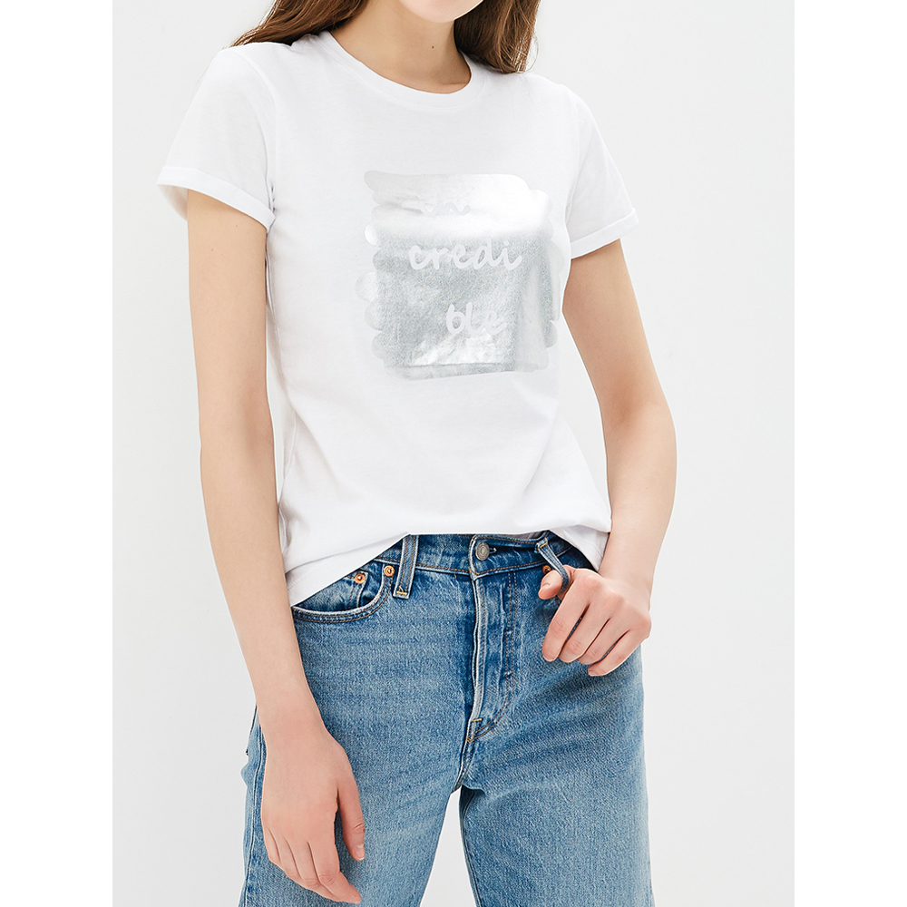 T-Shirts MODIS M181W00941 women shirt cotton for for female TmallFS t shirts t shirt befree for female cotton shirt short sleeve women clothes apparel 1811579424 4 tmallfs