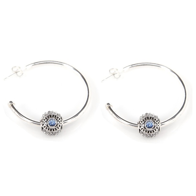 TS Silver Plated DIY Hinged Hoop Earrings Combine It with Narza Eye Bead, Thomas Style Fine Jewellery Best Gift for Women Girl
