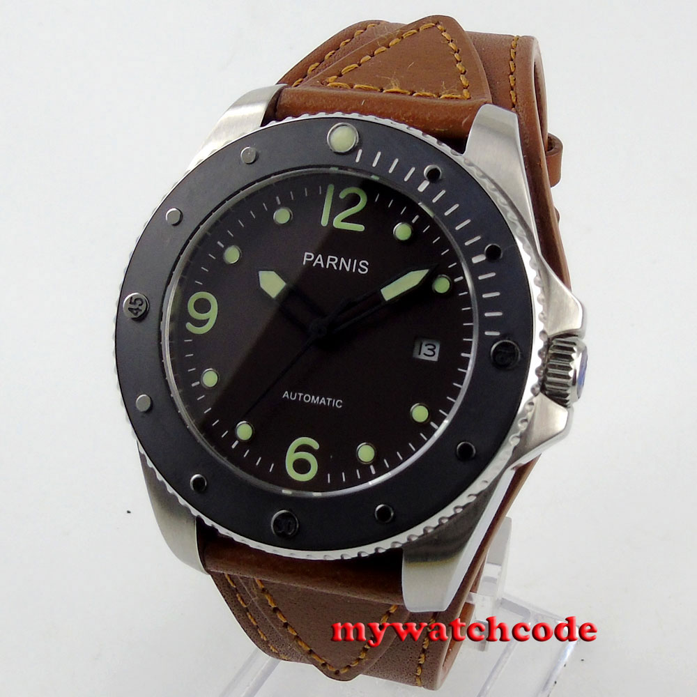 43mm Parnis deep coffee dial Sapphire ceramic bezel Automatic mens Watch P600B title=