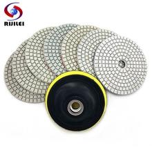 RIJILEI 7Pcs/Set 3/4 Flexible diamond Polishing Pad 80/100mm polishing pad granite Wet HC05