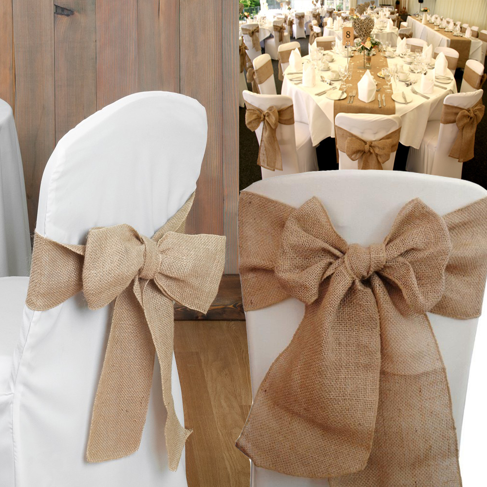 100pcs 7 x108 Natural Burlap Chair Sashes Jute Chair Bow Ties Home Chair Decor For Wedding