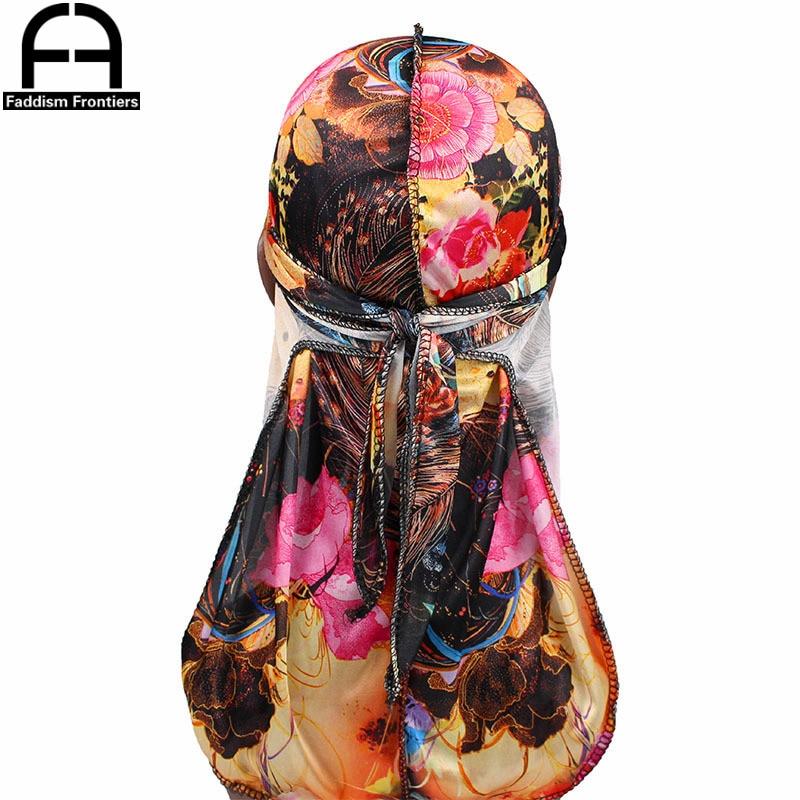 Fashion Men S Silky Durags Turban Bandanas Printed Flower