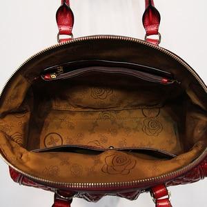 Image 5 - HANSOMFY sac à main en cuir pour femmes, sac à épaule, raviolis exquis gaufrés, sacs faits à la main personnalisé de bonne qualité en daim Fashion