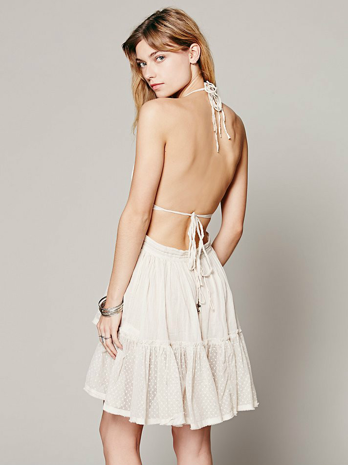Backless Beach Lace Strapless Short Pleated Cute Dress 5