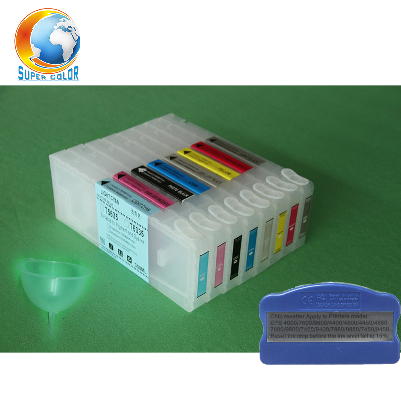 8 pieces/lot 350ml empty refill ink cartridge for Epson 7800 9800 refillable cartridge with chip funnel chip resetter refillable ink cartridge for epson 7800 9800 7880 9880 large format printer with chips and resetters 8 color and 350ml