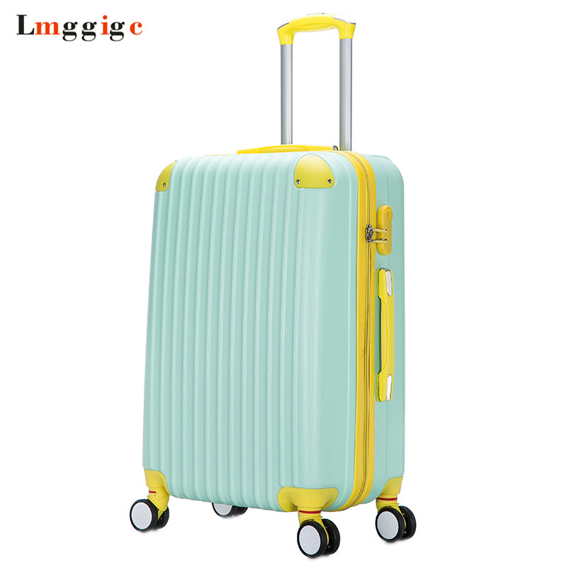 2018 New Fashion Rolling Luggage bag,Women Travel Suitcase,Universal Wheel ABS Trolley Case,2024inch Hardcase Box women children luggage suitcase hello kitty bag set cartoon travel box with rolling abs hardcase trolley universal wheel bag
