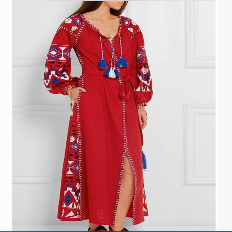Bohème Glands À Longues Designer Robes Broderie Été Mori Robe Fille Manches Ethnique Printemps Festival Rouge Automne CxdBoe