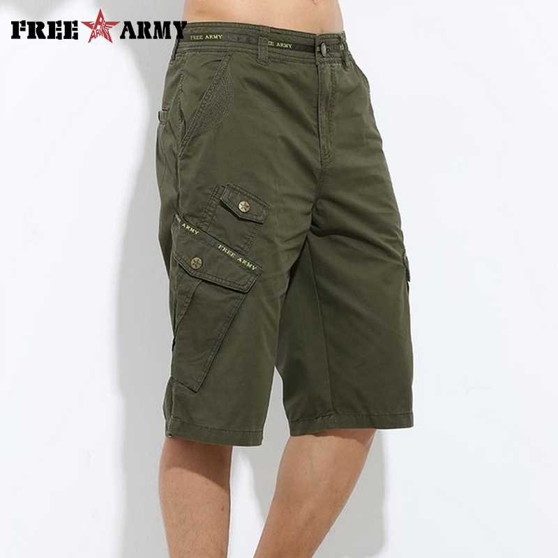 Summer Mens Short Pants baggy Multi Pocket Military Zipper Cargo Shorts breeches Male Army Green Casual Half Shorts MK-722A