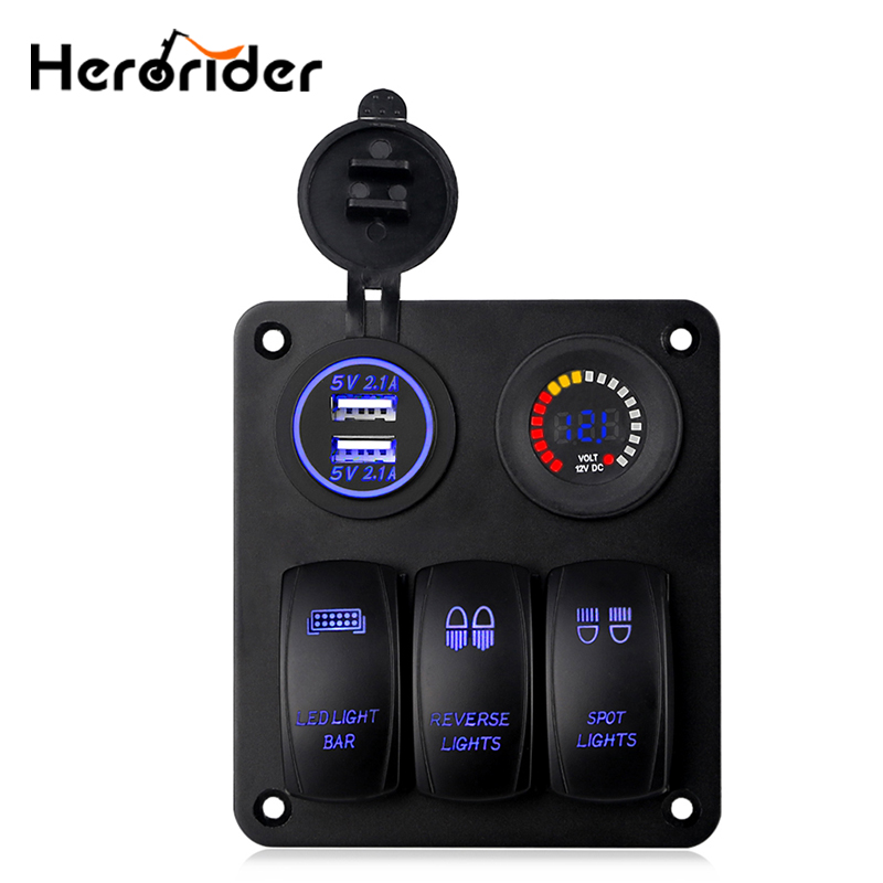 цена на 3 Gang Marine Ignition Toggle Rocker Switch Panel with LED Voltmeter 4.2A Dual USB Charger Socket Adapter For Car Boat Vehicles