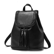 Petrichor Brand Designer Tassel Backpack String Small Backpack Female PU Leather School Backpack Women Shoulder Bag Braid Black недорого