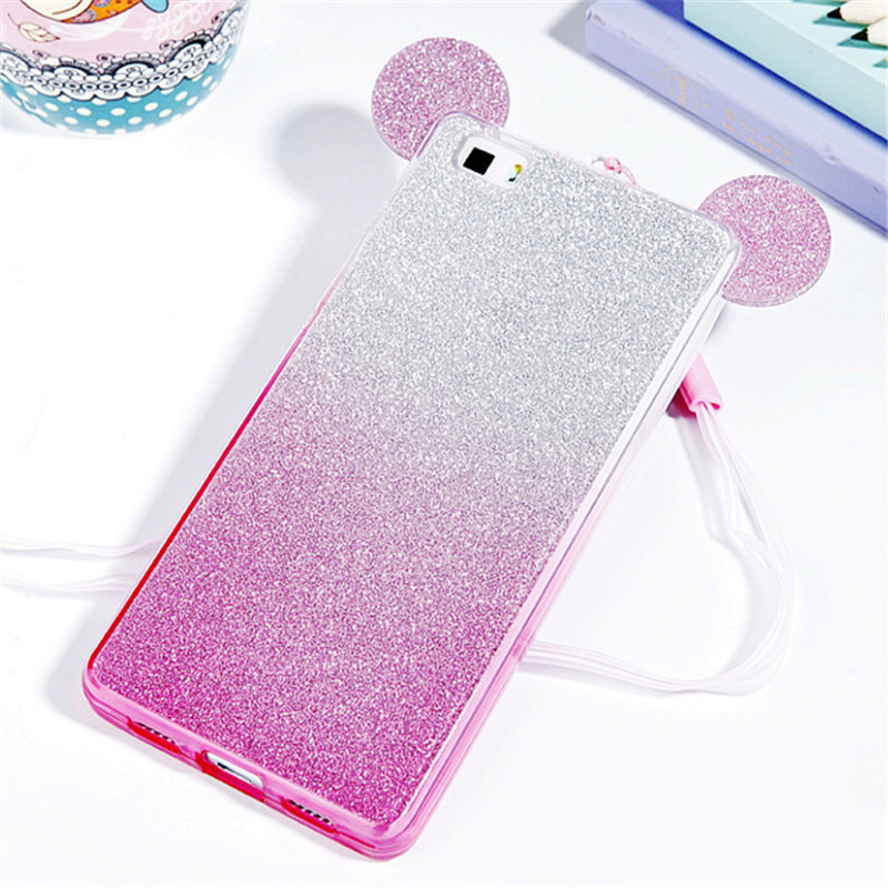 3D Glitter Minnie Mickey Mouse Ears Soft TPU Case for Huawei P20 PRO P8 P9 Lite 2017 P10 LITE case Gradient Cover phone cases