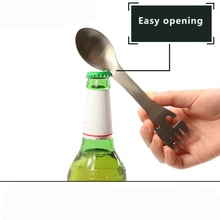 Outdoor Camping Tableware BBQ Hiking Spoon Cookware Multifunctional Fork Bottle Opener Portable Survival Tools