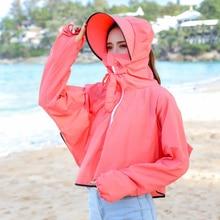 BINGYUANHAOXUAN 2019 New Sun Hat UV Transparent Sunscreen Clothing Long Sleeve Shirt Women Beach Wear Sun Protection Cover ups