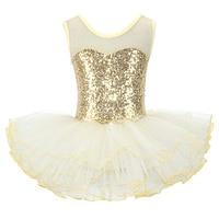 Güzel kızlar balerin peri balo parti kostüm çocuk payetli çiçek elbise Dancewear jimnastik Leotard bale Tutu elbise|Bale|   -
