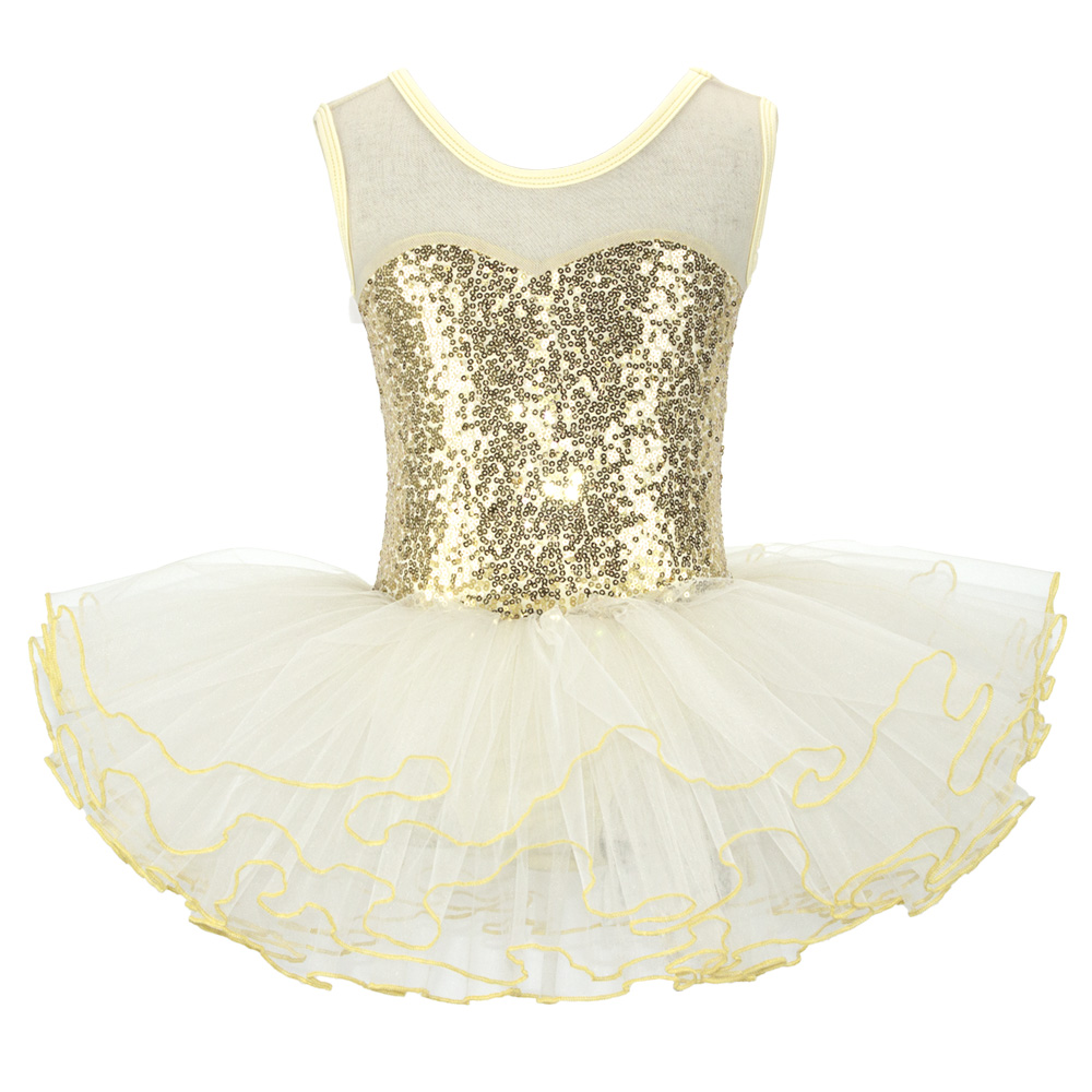 Nice Girls Ballerina Fairy Prom Party Costume Kids Sequined Flower Dress Dancewear Gymnastic Leotard  Ballet Tutu Dress