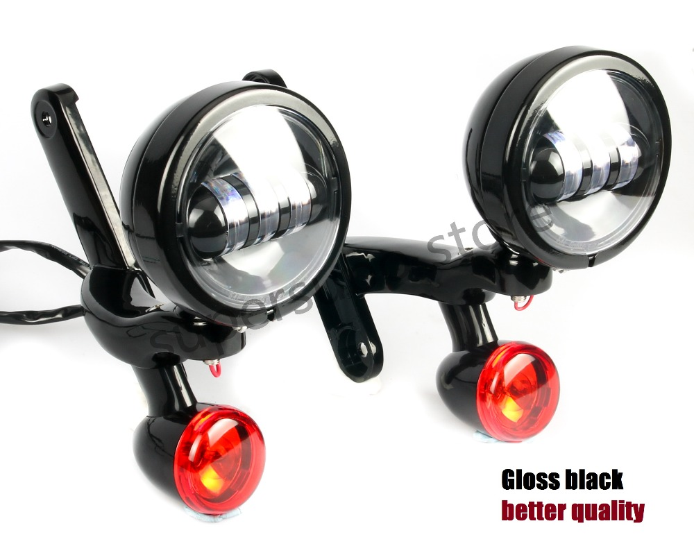 Motorcycle Black Auxiliary Lighting Brackets fog light with turn signals For Harley Street Glide FLHX Frame Parts  06-13 burst led auxiliary lighting black brackets with turn signals for harley street glide flhx 06 07 08 13