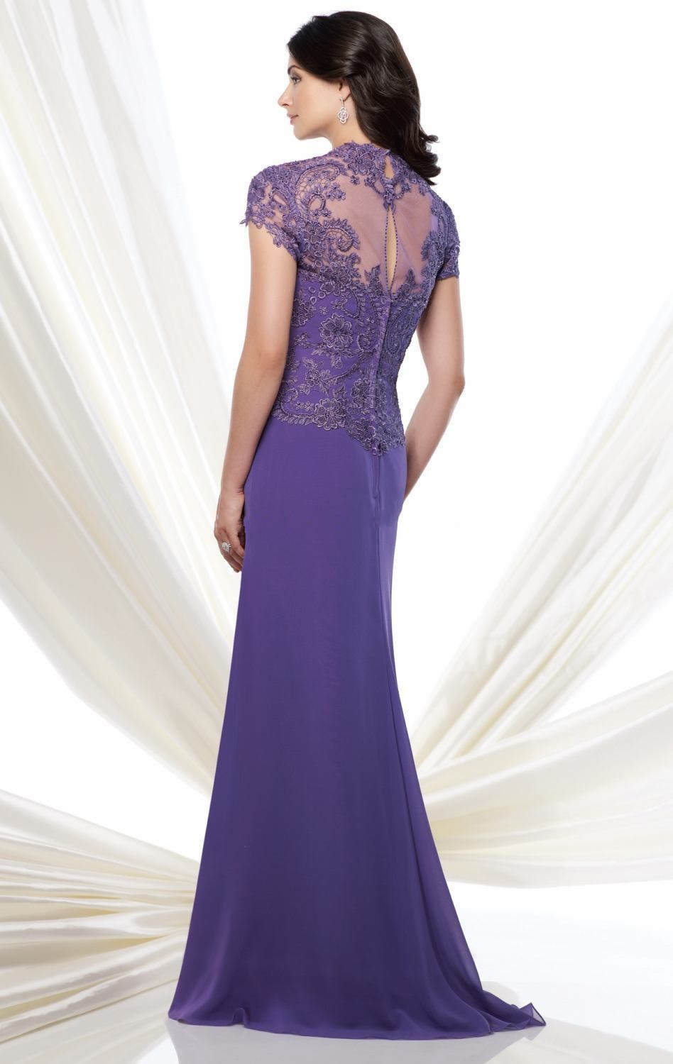 Euro Type Sweetheart Purple Mother of Bride Dresses Chiffon Short Sleeves Lace Beaded Online Party Dresses