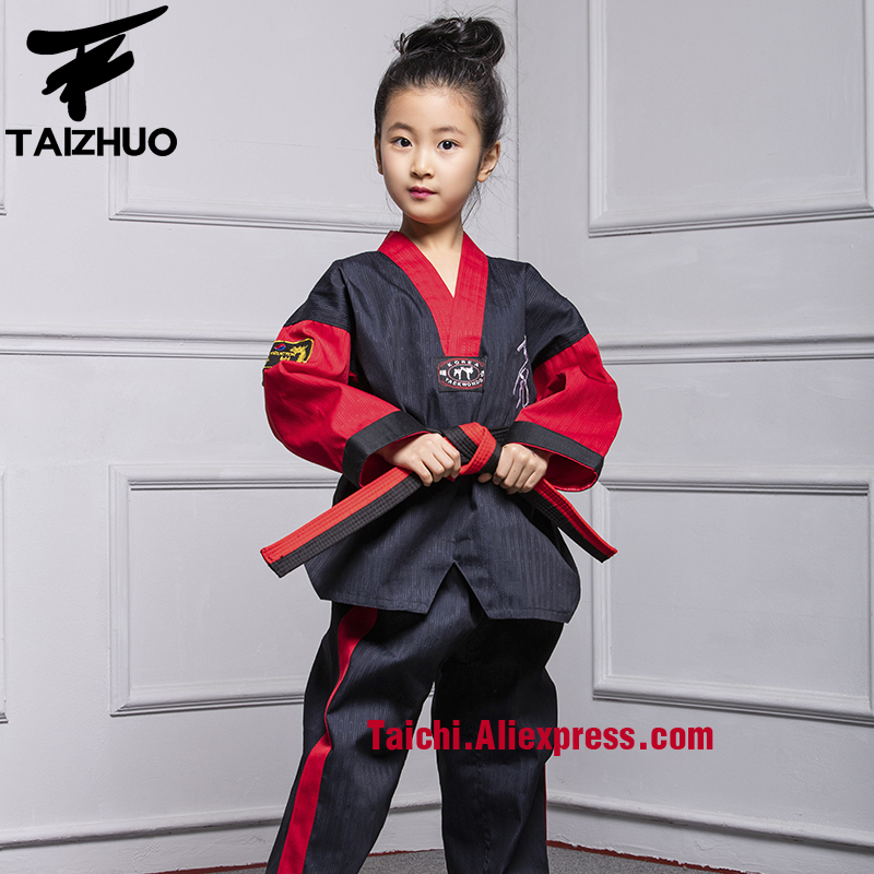 Martial Arts Tae Kwon Do Children Taekwondo Uinform For Poomsae & Training,WTF Uniform,110-155cm White With Black,red With Black
