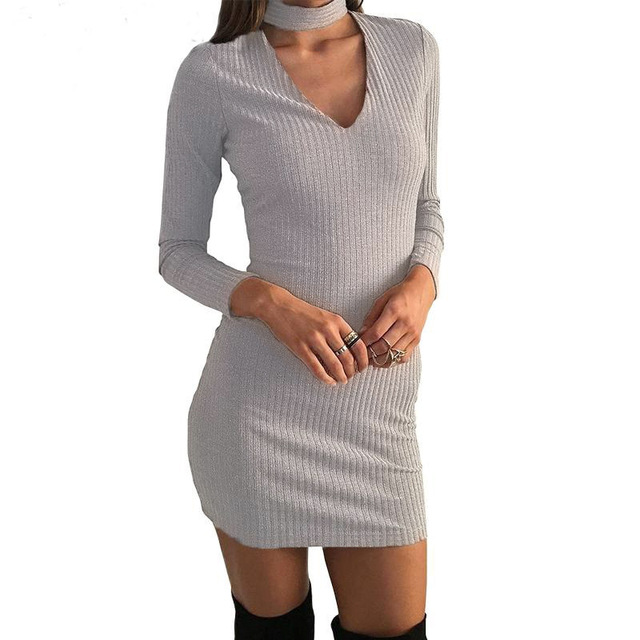 Winter Autumn Dress Women Long-sleeved Casual Dress Evening Mini Bodycon Bandage