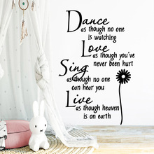 Creative dance love sing live Wall Stickers Personalized Pvc Decals Diy Home Decoration Accessories