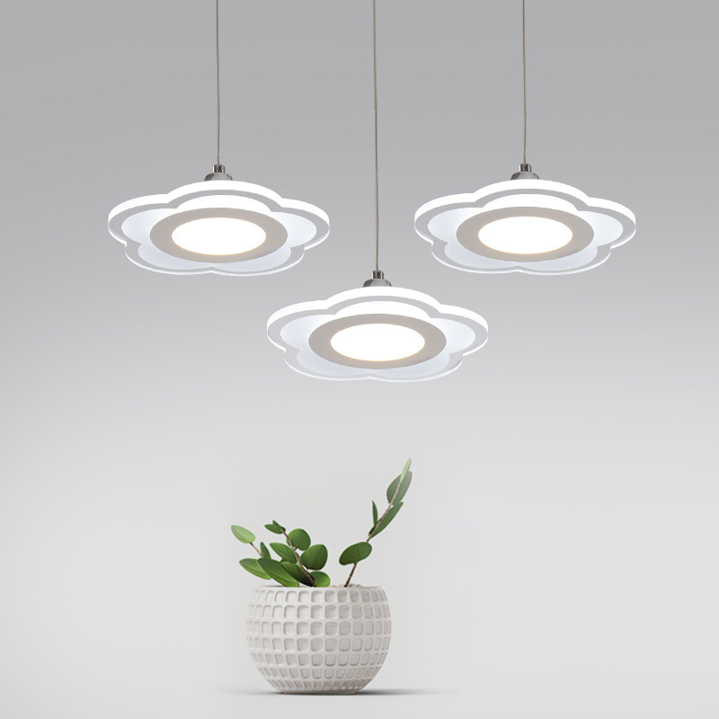 ФОТО New 12W LED Lamp Modern Flower Acrylic Pendant Lights Fixtures Living Room Kitchen Restaurant Decor Home Lighting 110-220V