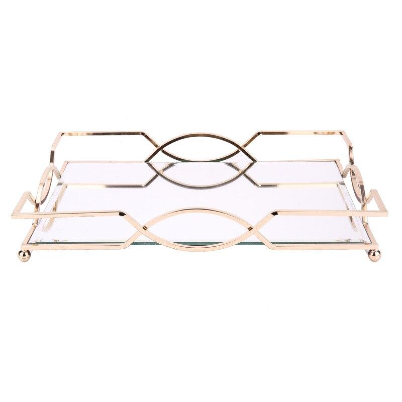 Plateau miroir en métal Simple et créatif | De haute qualité plateau rectangulaire modèle chambre hôtel salle de bain bureau plateau de rangement - 4
