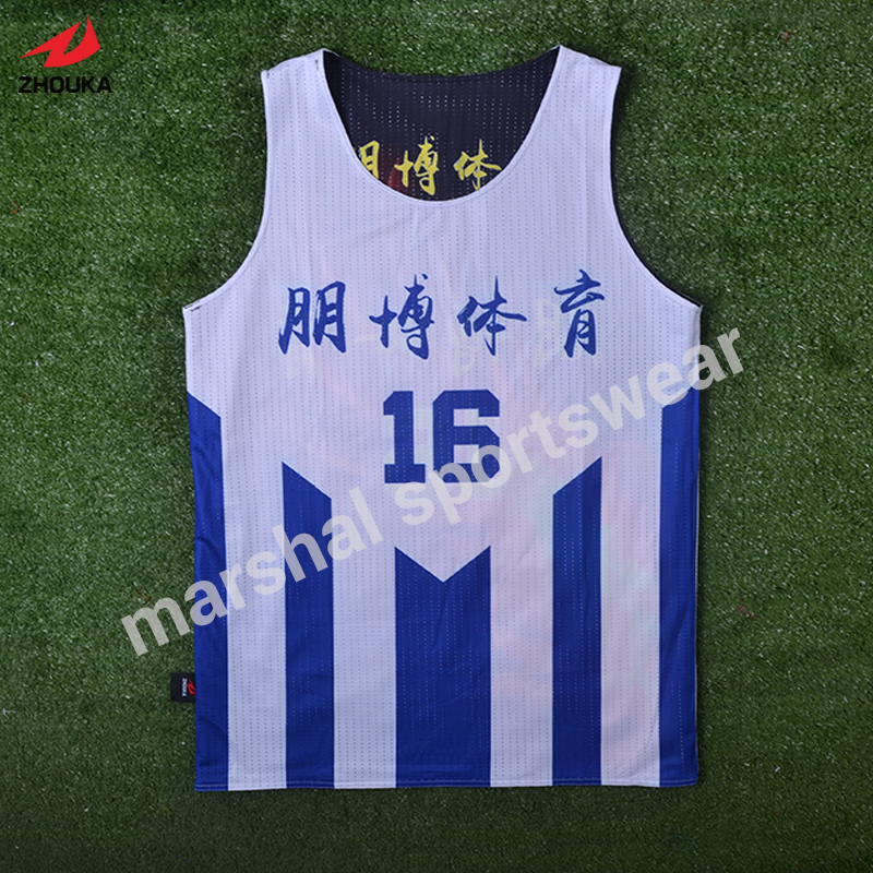 Top quality OEM reversible basketball jersey double mesh 100%polyester team jerseys