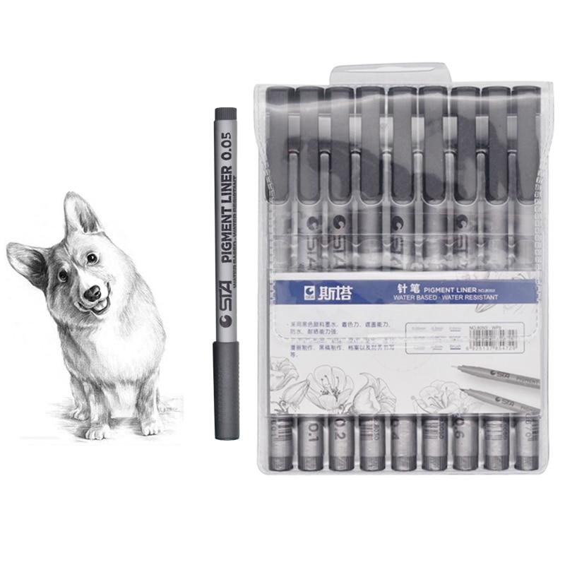 STA 9pcs/set Micron Waterproof Fade Proof Micron Pen Tip Fine Liner Black Sketch Water Marker Pen For Manga